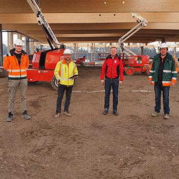 v.l.n.r.: Christoph Hartleb (Bauleiter, Granit), Günther Urányi (Baustellenkoordinator), Fritz Müller (Müller Transporte), Martin Feuchter (Polier, Granit)